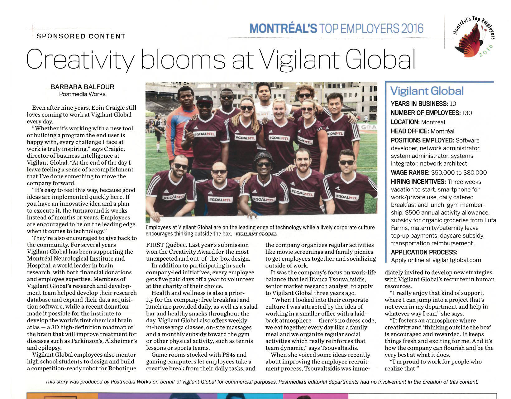 VIGILANT GLOBAL NAMED ONE OF MONTREAL'S TOP 20 EMPLOYERS FOR 2016